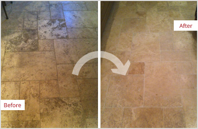 Sir Grout Denver Tan Marble Clean and ClearSeal